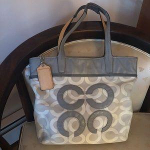 Coach Gray, White, Monogram C tote handbag